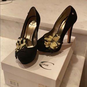 Italian Just Cavalli 4 inch suede heels
